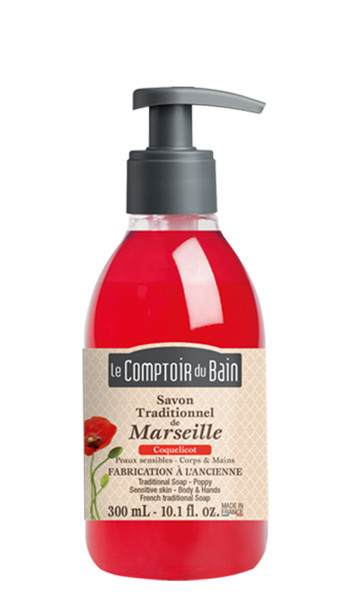 Savon traditionnel de Marseille Coquelicot 300 mL