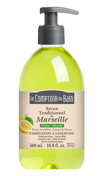 Savon traditionnel de Marseille Citron Menthe 500 mL