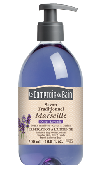 Savon traditionnel de Marseille Olive Lavande 500 mL