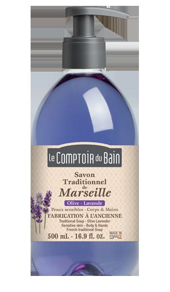 Savon traditionnel de Marseille Olive Lavande 500 mL