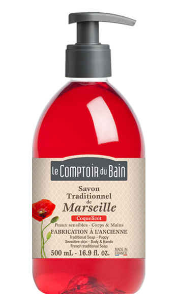 Savon traditionnel de Marseille Coquelicot 500 mL