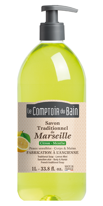 Savon traditionnel de Marseille Citron Menthe 1L