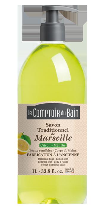Savon traditionnel de Marseille Citron Menthe 1L