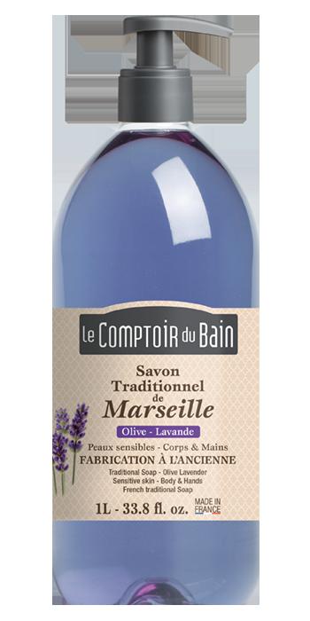 Savon traditionnel de Marseille Olive Lavande 1L