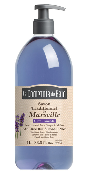 Savon traditionnel de Marseille Olive Lavande 1L