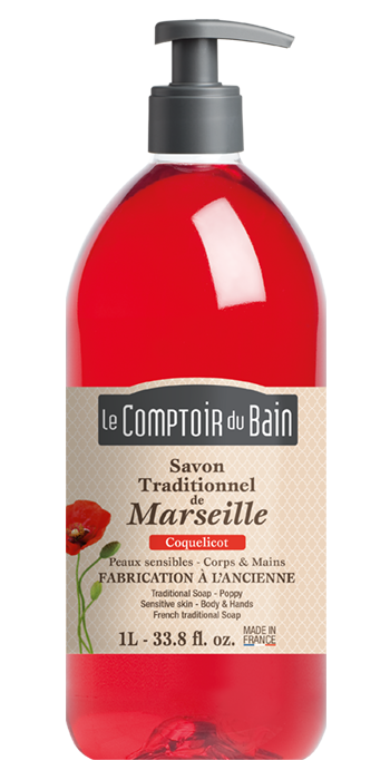 Savon traditionnel de Marseille Coquelicot 1L