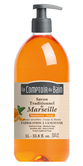 Savon traditionnel de Marseille Mandarine Sauge