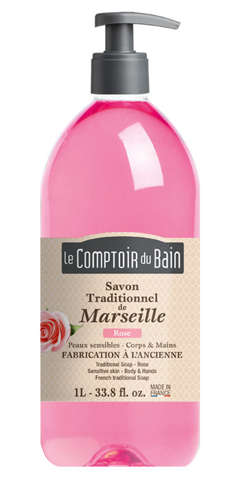 Savon traditionnel de Marseille Rose 1L